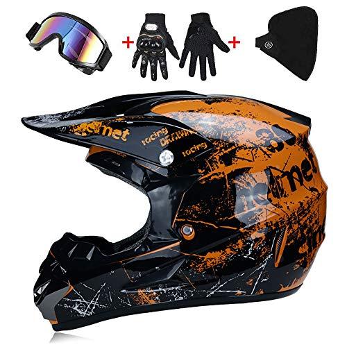 Helmet Off-Road Motorcycle Kit Casco, Casco Motocross Niño Dot Homologado - Casco de Moto Infantil Cross Integral Enduro Infantil para Mujer Hombre Adultos (52-59cm) -LWAJ
