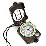 HotJack Military Bearing / Lensatic Compass, Professionally Liquid-Dampened, Full Metal Body with Bearing