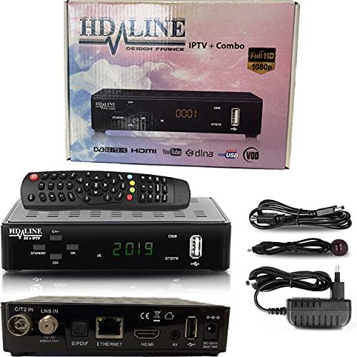 HD-line Tivusat DVB S2+T2+C Ricevitore Combo Full HD 1080p IPTV BOX (HDMI, LAN, 2x USB 2.0, AV) + Cavo HDMI (Preprogrammato per Astra Hotbird e Türksat) Scheda non inclusa!