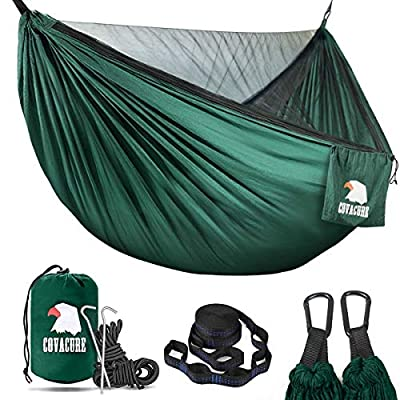 Covacure Camping Hammock - Lightweight Double Hammock, Hold Up to 772lbs, Portable Hammocks for Indoor, Outdoor, Hiking, Camping, Backpacking, Travel, Backyard, Beach?Dark Green?