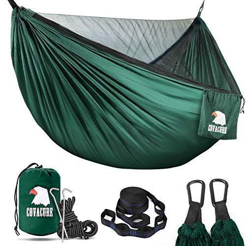 COVACURE Hamaca de camping con mosquitera – Hamaca ultraligera para 2 personas de viaje al aire libre para camping, senderismo y mochila; versión de actualización de capacidad de 772 libras (verde)