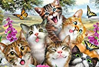 木製パズル1500ピース大人のおもちゃ-幸せな猫-子供の教育パズル-ジグソーパズル-男の子と女の子のためのDIYの誕生日プレゼント