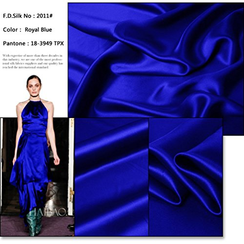 100% Pure Silk Charmeuse Fabric 45' Dressmaking Sewing 44 Color Sold by The Yard (Royal Blue)