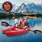 MaxKare Youth Kayak Wave Kayak with Foldable Back Rest, Cup Holders, Front & Rear Storage Hatches, Paddle, 6 Feet, 3 footrest Positions, Ages Years 5 and up,Weight Capacity of 121 lbs