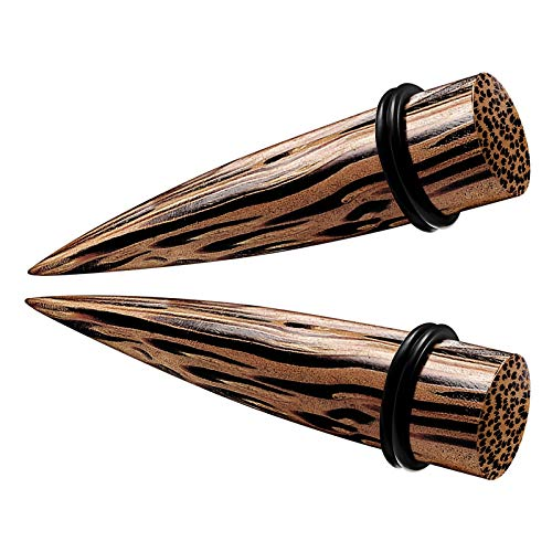 BanaVega 2 piezas de madera de carne de coco negro juntas tóricas cónicas dilatadores dilatadores de dilatación para pendientes Ver más tamaños