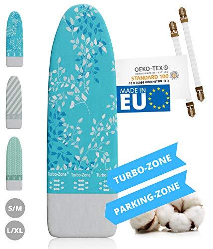 Innovadora funda para tabla de planchar de vapor, fabricada en la UE, con zona turbo y tensor para funda de tabla de planchar
