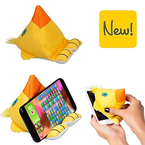 Plusheez 2-in-1 Mobiele Telefoon Houder Karakter Kinder eReader Tablet Standaard met Micro Vezel Scherm Wisser - Vogel