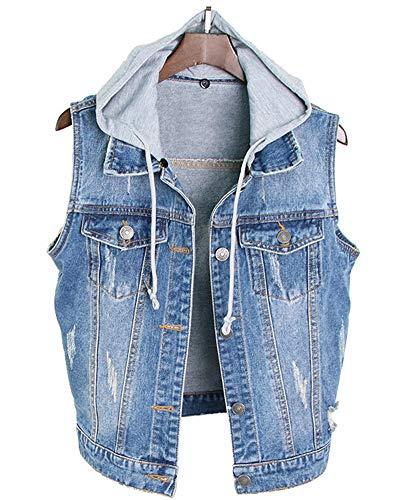 AnyuA Damen Beil?ufig Plus Gr??e Schlank Denim Kurz Weste ?rmellos Jacket Oberteil Jeansweste Denim Blau 2XL