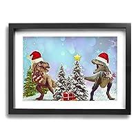 面白い恐竜のクリスマス モダンフレーム装飾画 壁飾り Framed Painting 壁の絵 壁掛け 部屋飾り 背景絵画 壁アート 木枠付きの完成品 装飾 軽くて取り付けやすい 玄関 リビングと寝室の飾りに最高30x40cm