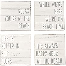 Mud Pie 4255031 Planked 4 coasters One Size White