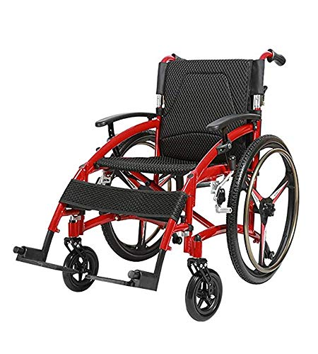 Fantastic Prices! NSCHJZ Red Self-Propelled Wheelchair, Aluminium Lightweight Anti-Fall Transit Devi...