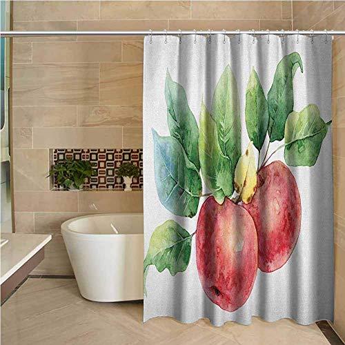 N\A Shabby Chic Duschvorhang Apfel Aquarell Art Style Branch mit grünen Blättern & Reifen Bio-Früchten Dark Coral Green White