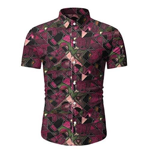 Yowablo Herren Hemd Kurzarm Hawaiihemd Kurzarmhemd Basic Shirt Freizeit Urlaub Sommerhemd Beach Strand (M,4Rot)