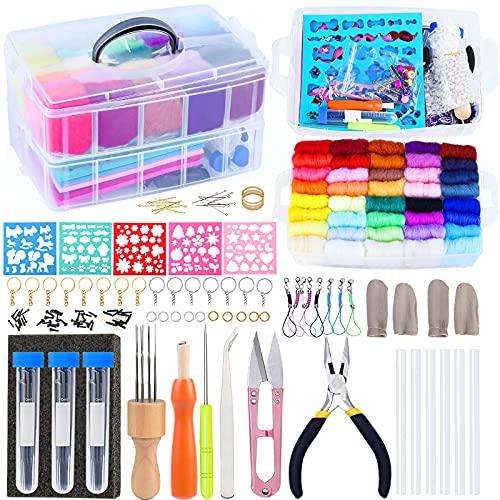 72 colores lana fieltro kit aguja herramientas DIY mango lana fieltro juguetes hacer tela materiales artesanales para principiantes