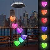 Campanelli Eolici Solare, LED Energia Solare Campanella Cambia Colore, Campana a Vento Luce Impermeabile, Ideale per Decorazione per Esterno, Interni, Casa, Giardino, Cortile, Feste (Cuore)