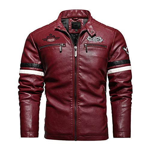 2020 New Motorcycle Biker Mens Leather Jacket Casual PU Coat Embroidery Leather Jacket Men Chaqueta Cuero Hombre Red