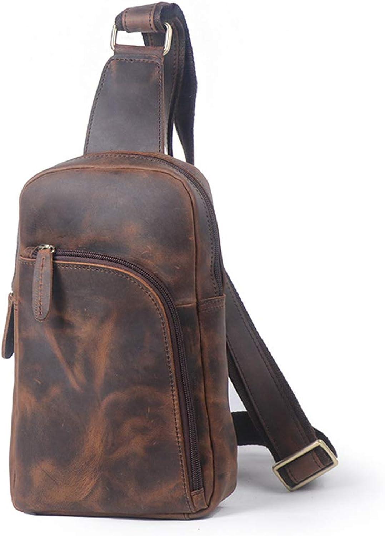 LiShihuan Herren Brusttasche Reißverschluss Leder Messenger Bag Schultertasche Retro (Farbe   Dark braun) B07L96XQYS