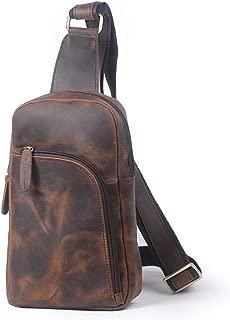 Mens Bag Zipper Leather Messenger Bag Shoulder Bag Retro Men's Chest Bag High capacity