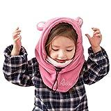 Azarxis フェイスマスク 防寒 キッズ ネックウォーマー フード ウォーマー 子供用 帽子 暖かい 冬 (ピンク - うさぎ)
