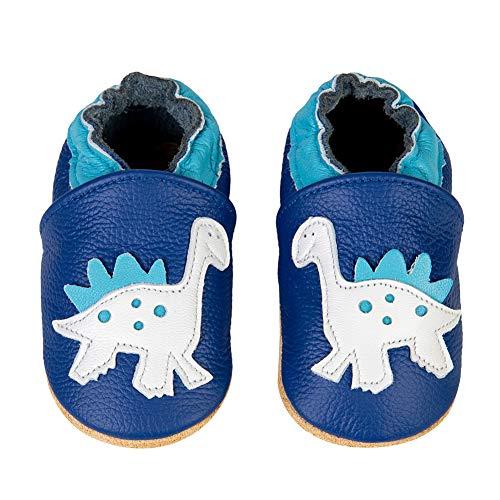 IceUnicorn Baby Lauflernschuhe Jungen Mädchen Weicher Leder Krabbelschuhe Kleinkind Babyhausschuhe Rutschfesten Wildledersohlen(Blau Dinosaurier, 0-6 Monate)