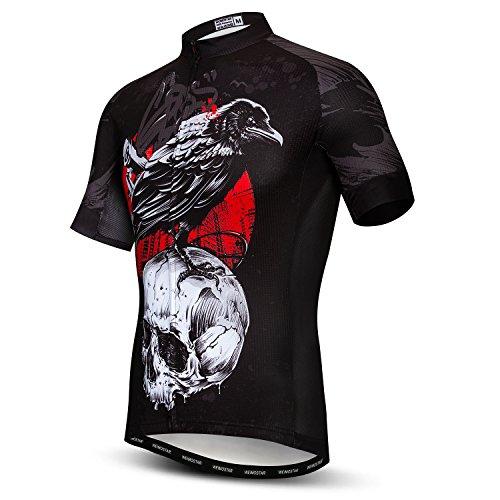 Herren Radtrikot, kurze Ärmel, Mountainbike-Shirt, MTB, Top, Reißverschlusstasche, reflektierender Totenkopf - - Groß