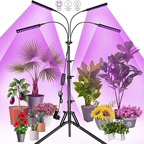 Railee Pflanzenlampe LED mit Ständer Pflanzenlicht Grow Lampe Pflanzenleuchte 96W 192 LEDs Wachstumslampe für Pflanzen Wachsen Licht Vollspektrum mit Zeitschaltuhr 4 Modi 10 Lichtstärken