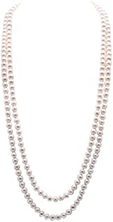 """JYX Pearl Double Strand Necklace Classic 8-9mm White Freshwater Pearl Long Strand Necklace Opera Length 32"""""""
