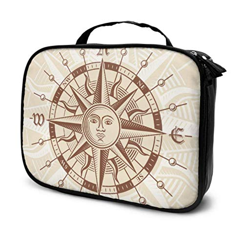 an Antique Compass Rose Travel Make Up Bag Beauty Bag Small Mens Toiletries Bag Multifunction Printed Pouch for Women