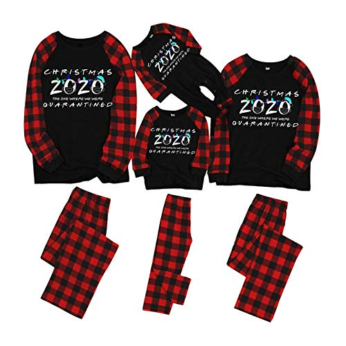 Christmas Family Matching Pajamas Set - The One Where We were Quarantined - Sleepwear for Family Boys, Girls, Couples(Black, Womens/Small)