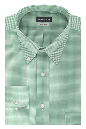 Van Heusen Men's Regular Fit Gingham Button Down Collar Dress Shirt, Green Chicory, Medium