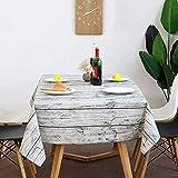 ZWOOS Mantel Mesa Rectangular 220 x 140cm, Mantel Rectangular Vintage de Madera de Grano de Lino Mantel Encerado Lavable Mantel Antimanchas Mantel a Prueba de Polvo para Interiores y Exteriores