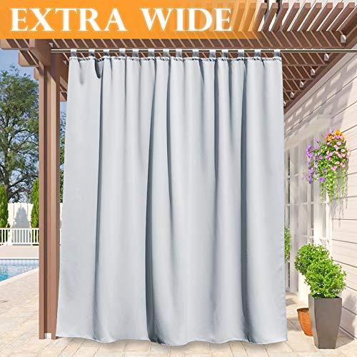 RYB HOME Outdoor Decor Curtains - Outdoor Window Shade Solid Heavy Duty Panel Sliding Top Tab, Waterproof Sun Light Block for Garage Cabana Gazebo Patio Door, 100 x 120 inch Long, Grayish White