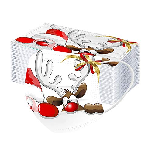 Erwachsene 50 Stücke Einweg Mundschutz Mund Nasenschutz Mit Motive 3 Lagig Atmungsaktive Mund-Tuch Bandana Halstuch Schals für Damen Männer (Multicolor 40)