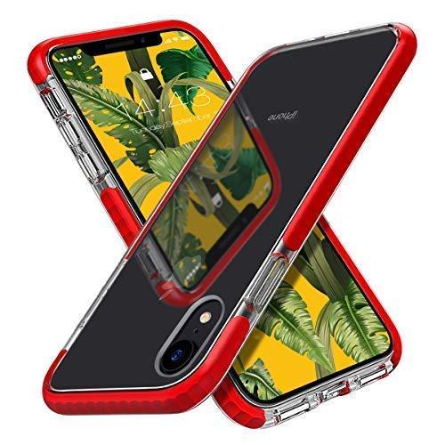 MATEPROX Cover iPhone XR,Custodia iPhone XR Cristallo Chiaro Case Antiurto Anti Graffio Anti Giallo Morbida Protettivo Cover per iPhone XR 6.1''(Rosso)