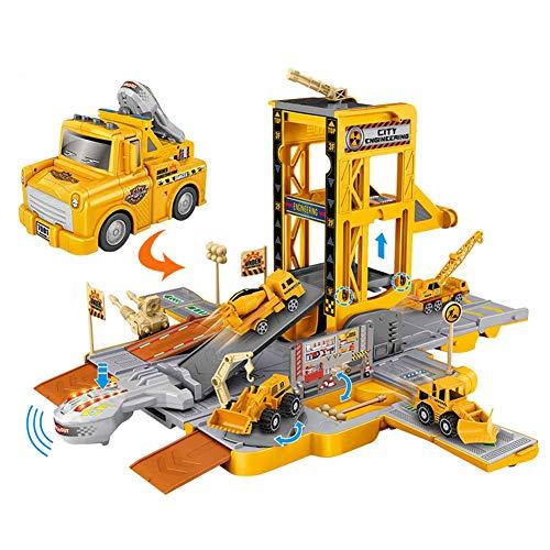 ZDSKSH Car Garage Toy Garaje 3 Plantas con Luz Y Sonido Vehículos De Juguete para Niños Parking Infantil De Coches, rampa de Salida, Juego Garaje Coches Parking Garage