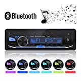 XYFANG Autoradio mit Bluetooth Freisprecheinrichtung,1 DIN Autoradio MP3-Player/USB/TF/AUX/FM Audio-Empfänger ,USB Anschlüsse Für Musikspielen und Aufladen ,7 LED Farben Einstellbar