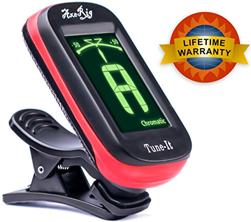 AxeRig Clip-On Chromatic Guitar Tuner for Acoustic, Bass, 6 & 12 string Guitars, Banjo, Mandolin, Ukulele, Violin, Cello, Trumpet, Brass, Sax, Flute,...