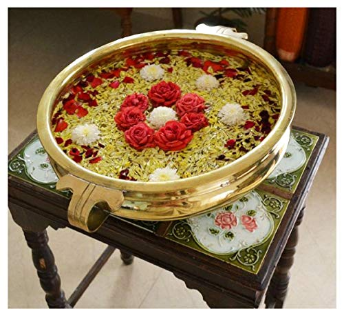 CRAFTSMAN Decorative Brass Bowl Urli for Flowers and Floating Candles. Brass Urli Bowing Pot (8 inch Diameter)