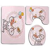 Conception de joyeux anniversaire avec des ballons de vélo Fleurs et couronne sur fond pastel Ensemble de tapis de bain pour salle de bain Tapis de sol antidérapant 3 pièces Tapis de couverture + couv
