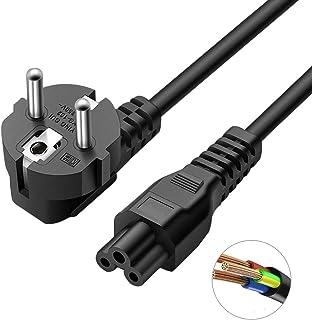 DTK IEC 320 C5 Cable de Alimentación, EUR Sector de Cable eléctrico con Clover Tripolar Power 1.8m Negro
