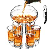 Adjustable Shot Glass Dispenser and Holder Made of Food Grade Plexiglass , Liquor Dispenser with 6 Drinking Glasses for Party Home Bar and Drinking Games (Clear)