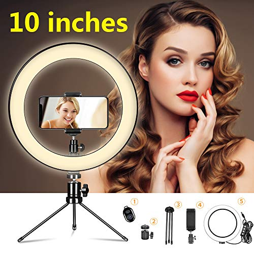 Yeuk Selfie Ring Light with Tripod Stand and Phone Holder Desktop,Dimmable 10\u0026quot; LED Mini Camera Lighting for Makeup Live Streaming YouTube Video Photography… (10'' Light kit)