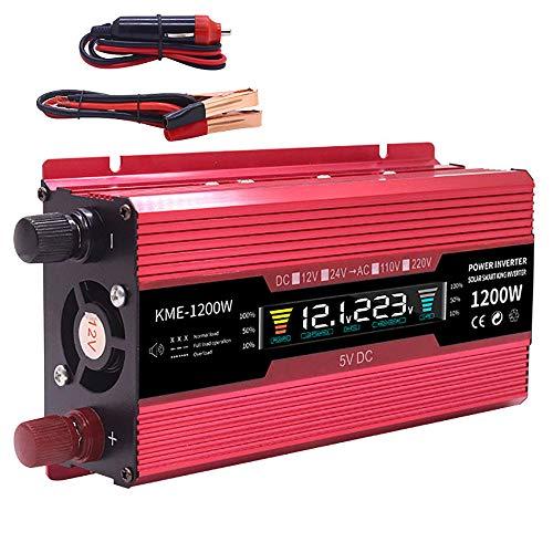 LNLN auto omvormer 600/1200/2000 Watt spanning transformator auto converter 12 V naar 110/220 V zonne-inversor auto lader adapter LCD-display 1200W EU.