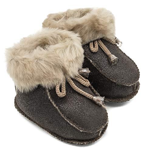 ABSoft Baby-Stivali Unisex Caldi per l'inverno in Pelle Cappuccino Modello 02, Marrone (Cappuccino), M (6-12 Monate)