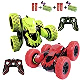 Haktoys Radio Remote Control Stunt Car 2 Sided AWD 360 Rotation RC Truck Toy Vehicle for Kids Boys and Adults, Different Frequencies - Two Players Can Play Together