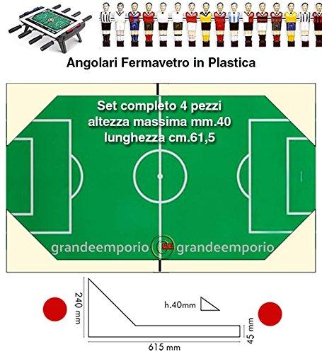 grandeemporio Calcio Balilla angolari fermavetro Alti Serie 4 Pezzi, 2 SX. e 2 DX, Altezza Massima cm. 4, Lunghezza cm.61,5, in plastica Bianca.