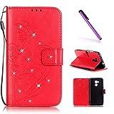 EMAXELERS Huawei Honor 5C Hülle Bling Glitzer Blume Schmetterling Ledertasche Slim PU Leder Bookstyle Handyhülle Tasche für Huawei Honor 5C,Red Butterfly with Diamond