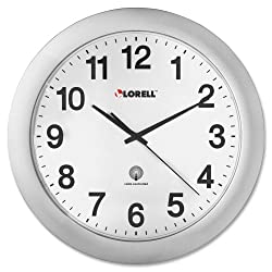 Wholesale CASE of 10 - Lorell Round Profile Radio-controlled Wall Clocks-Wall Clock, 12, Arabic Numerals, White Dial/Silver Frame