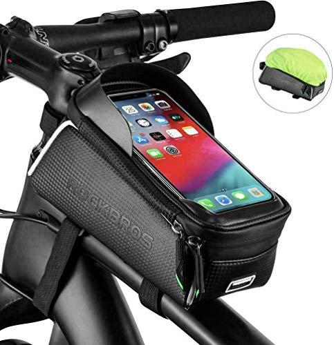 ROCKBROS Rahmentasche Lenkertasche Fahrrad Wasserdicht Oberrohrtasche für Handy unter 6 Zoll mit Kopfhörerloch Handyhalterung TPU Sensitiven Touchscreen Schwarz