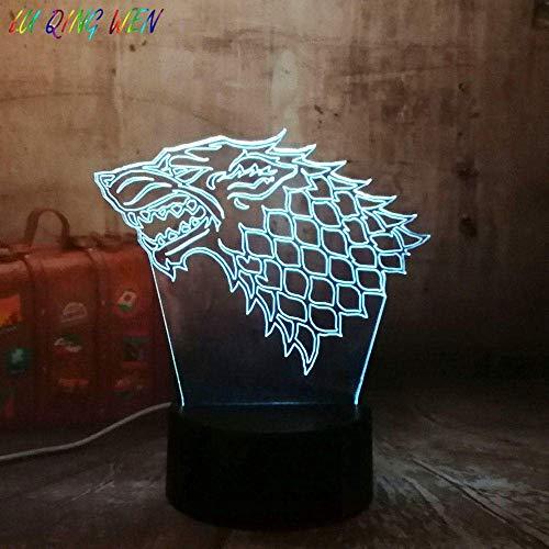 3D Illusionslampe LED Nachtlichthaus Stark von Winterfell Zeichen Eiswolf Kind Sensor Game of Thrones Schlafzimmer Dekorative Touch Tischlampe